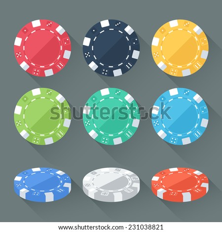 Set of colorful gambling chips, casino tokens isolated. Flat style with long shadows. Modern trendy design. Raster copy. - stock photo