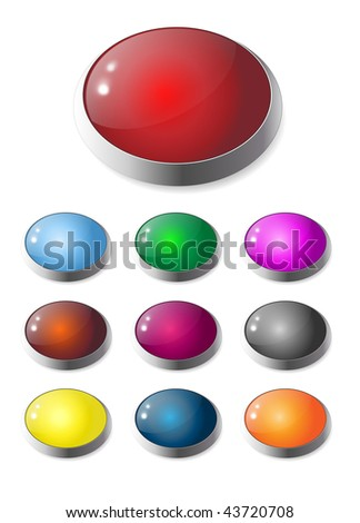 Set of colorful, gel and glass web buttons