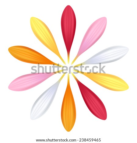 Set of colorful gerbera petals. Flower parts. Pink, red, white, yellow and orange colors. - stock photo