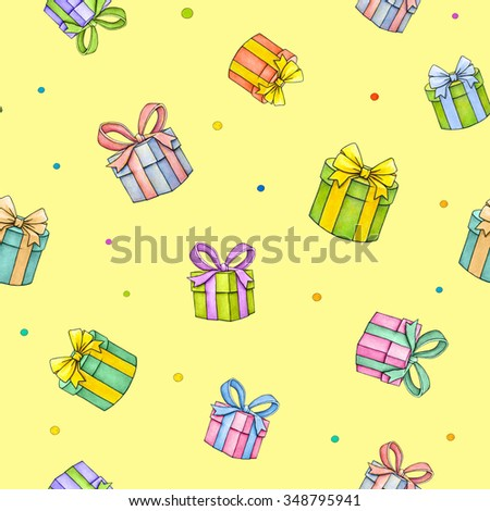 Set of colorful gift boxes with bows and ribbons on yellow background. Watercolor lovely illustration. Handwork
