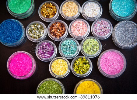 Set of colorful glitter make up - stock photo