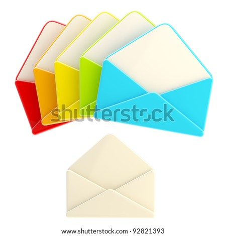 Set of colorful glossy blank envelope isolated on white