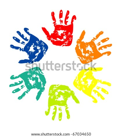 Set of colorful hand prints isolated on white background - stock photo