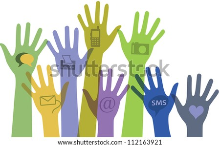 Set of colorful hands with communication icons. - stock photo
