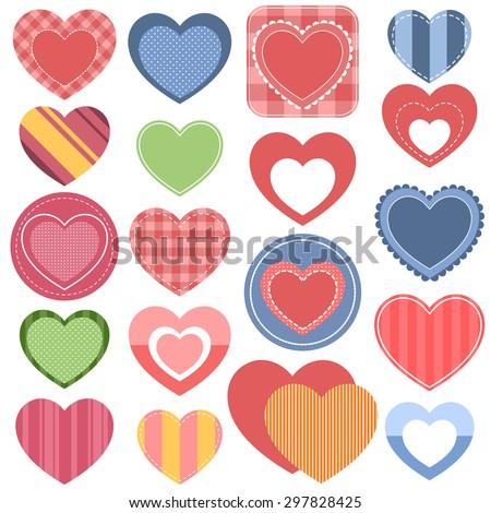 Set of colorful hearts. Raster version - stock photo