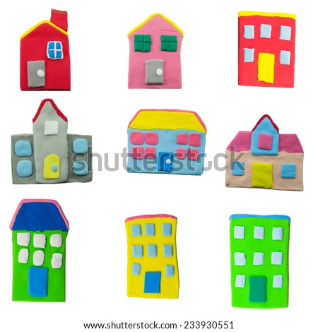 set of colorful house and building made from plasticine on white background - stock photo