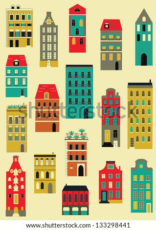 Set of colorful houses. - stock photo