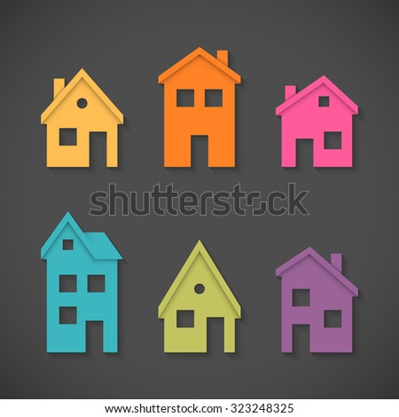 Set of colorful houses icons. - stock photo