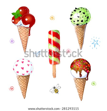 Set of colorful ice cream hand drawn with watercolor. Chocolate and caramel topping, mint, ice cream cones and ice cream scoops. - stock photo