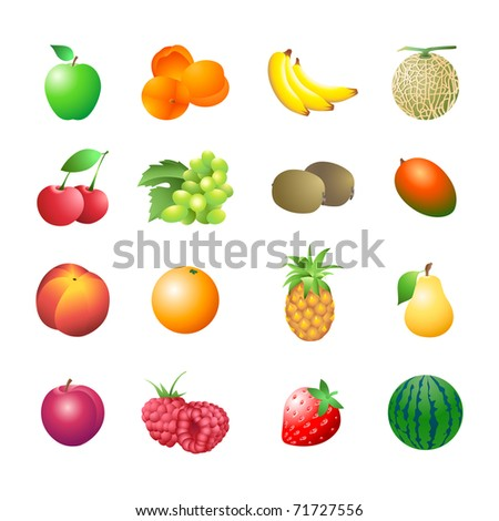 Set of colorful isolated fruits for calorie table illustration - stock photo