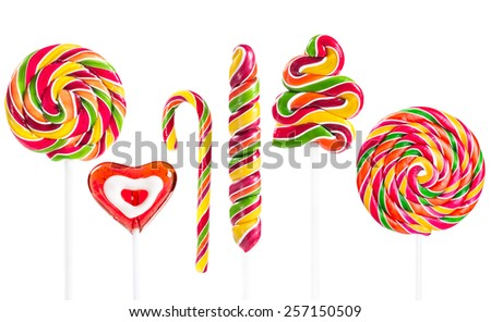 Set of colorful lollipop isolated on white background - stock photo