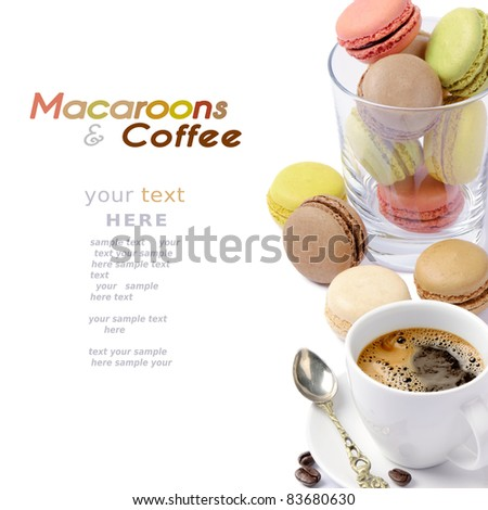Set of colorful macaroons and coffee - stock photo