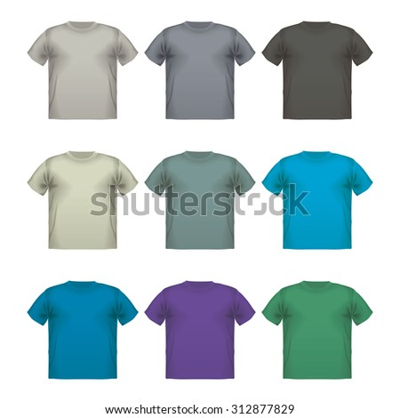 Set of colorful male t-shirts  wear printing advertisement isolated clothing retail cloth