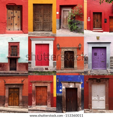 Set Colorful Mexican Front Doors Stock Photo 153360011
