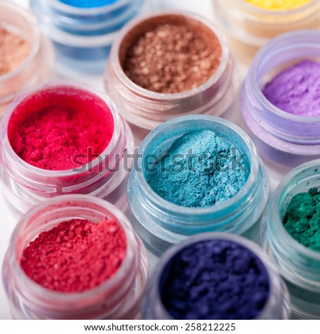 Set of colorful mineral eyeshadows - stock photo