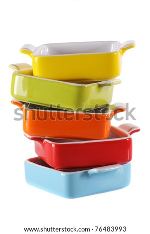 Set of colorful pans - stock photo