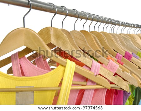 Set of Colorful peignoir on the hanger - stock photo