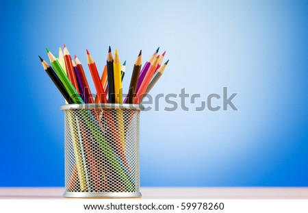 Set of colorful pencils in the holder