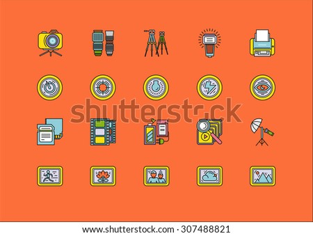Set of colorful photographic equipment thin, lines, outline, strokes icons. Elements of photo processing. Digital camera with pictures and modes, photo items. For mobile applications. Raster version - stock photo