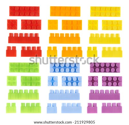 Set of colorful plastic toy construction block bricks isolated over the white background, top and side foreshortenings in different size and color versions - stock photo