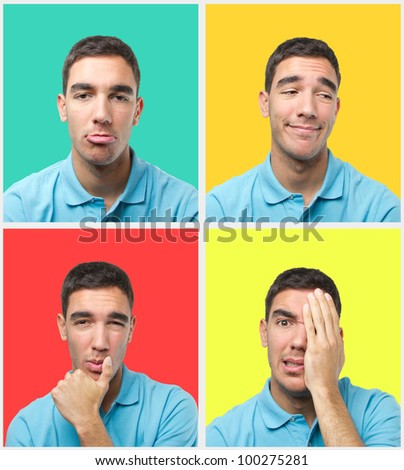 Set of colorful portraits of a young man with different poses wearing a polo shirt - stock photo