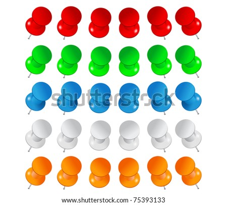 Set of colorful push pins - stock photo