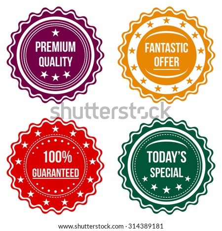 Set of colorful round badges. Sale, discount theme.