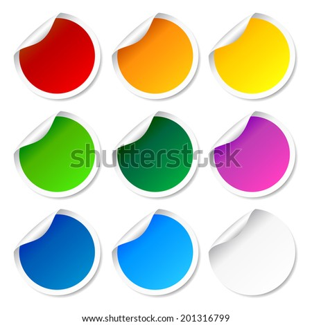 Set of colorful round labels and stickers - stock photo