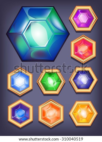 set of colorful shiny jewels. icons colored diamonds. Raster version - stock photo
