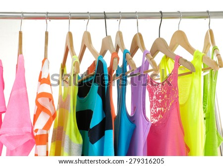 Set of colorful shirt rack  - stock photo