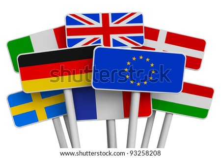 Set of colorful signs with world flags isolated on white background - stock photo