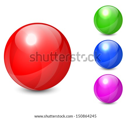 Set of colorful spheres isolated on white background.  - stock photo