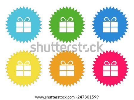 Set of colorful sticker icons with gift symbol in blue, green, yellow, red and orange colors - stock photo