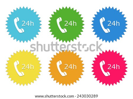 Set of colorful stickers icons to symbolize attention 24 hours in blue, green, yellow, red and orange colors - stock photo