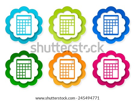 Set of colorful stickers icons with calculator symbol in blue, green, pink and orange colors - stock photo