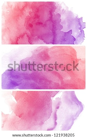 Set of colorful various Abstract watercolor art background hand paint - stock photo