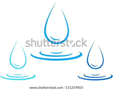 set of colorful water drop icon with splash silhouette