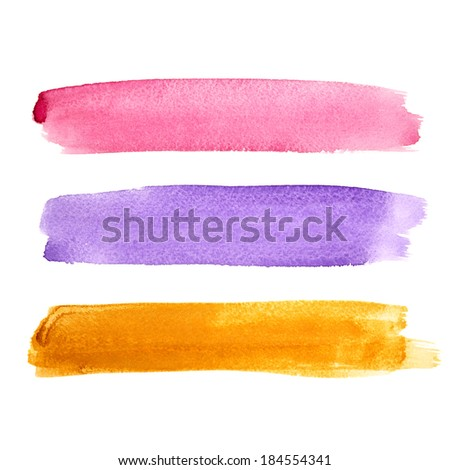 Set of colorful watercolor brush strokes - stock photo