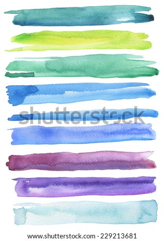 Set of colorful watercolor brush strokes. Isolated on white. Paper texture. - stock photo