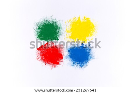 Set of colorful watercolor brush strokes on white paper - stock photo