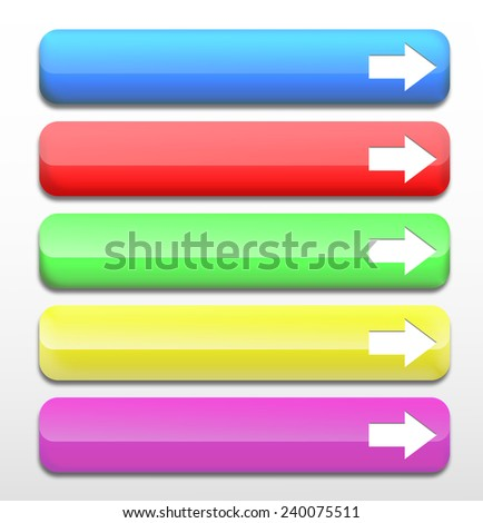 Set of colorful web buttons. Realistic glossy colorful Web buttons with arrow symbol isolated on a white background - stock photo