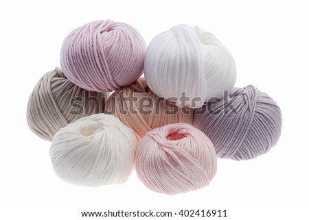 Set of colorful wool yarn wrapped in balls.