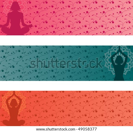 Set of 3 colorful yoga banners - stock photo