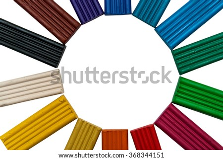 set of colors of modeling clay isolated on white background - stock photo