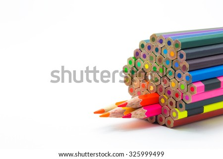 Set of colour of wooden pencils on white background - stock photo