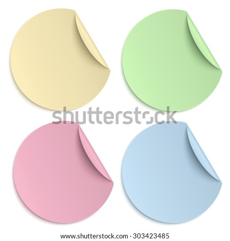 Set of colour round paper sticker isolated on white. - stock photo