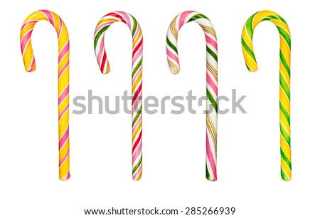 Set of colourful hard candy canes isolated over white background - stock photo