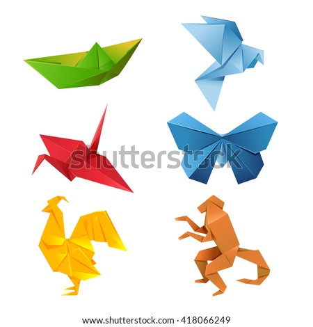 Set of colourful origami animals - stock photo