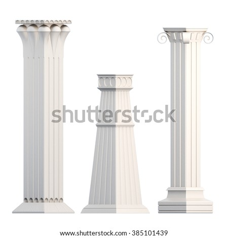 Set of columns isolated on white background. 3d rendering.