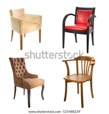 set of comfortable arm chairs isolated on white background leather wooden and textile chairs